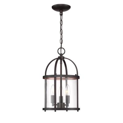 Round Cage Style 3-Light Vintage Bronze Hanging Pendant with Clear Glass Shade