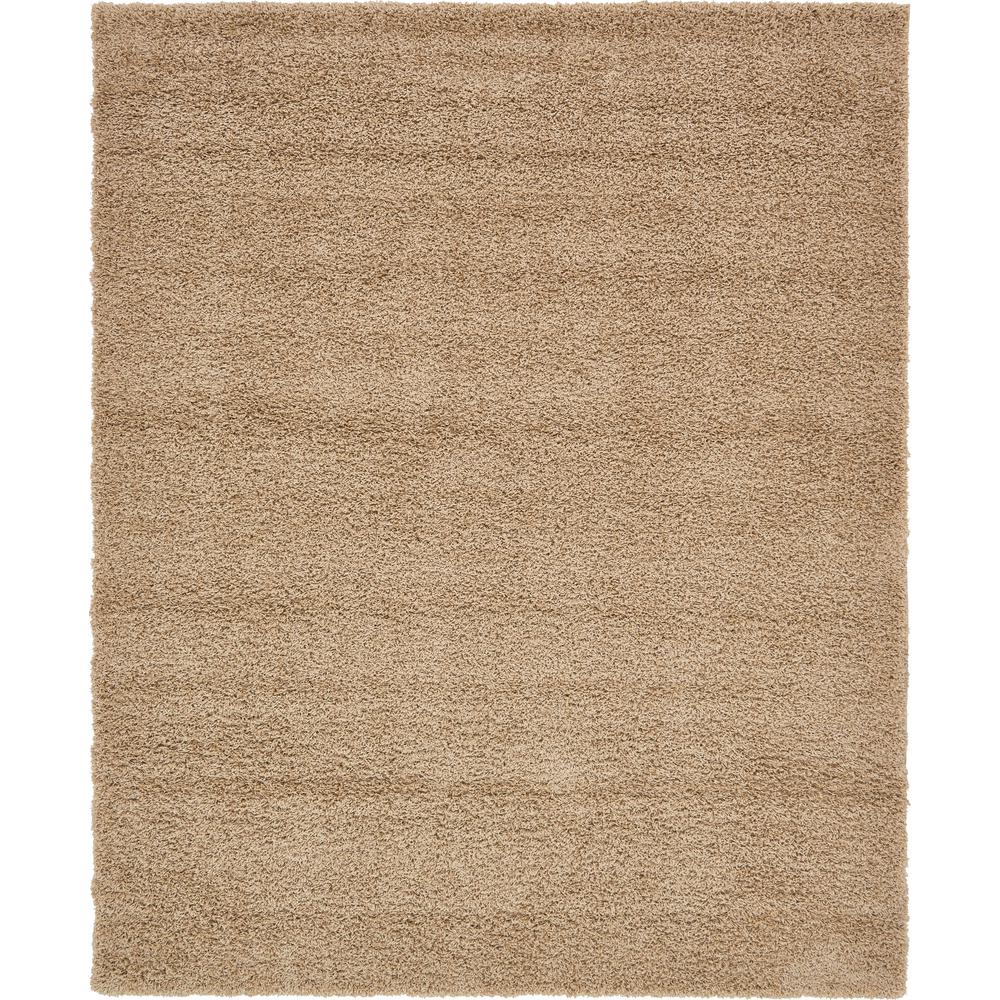 Unique Loom Solid Shag Taupe 8 Ft X 10 Ft Rug 3136659