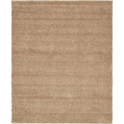 Solid Shag Taupe 8 ft. x 10 ft. Area Rug