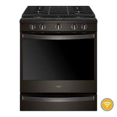 5.8 cu. ft. Smart Slide-In Gas Range with EZ-2-LIFT Hinged Cast-Iron Grates in Fingerprint Resistant Black Stainless