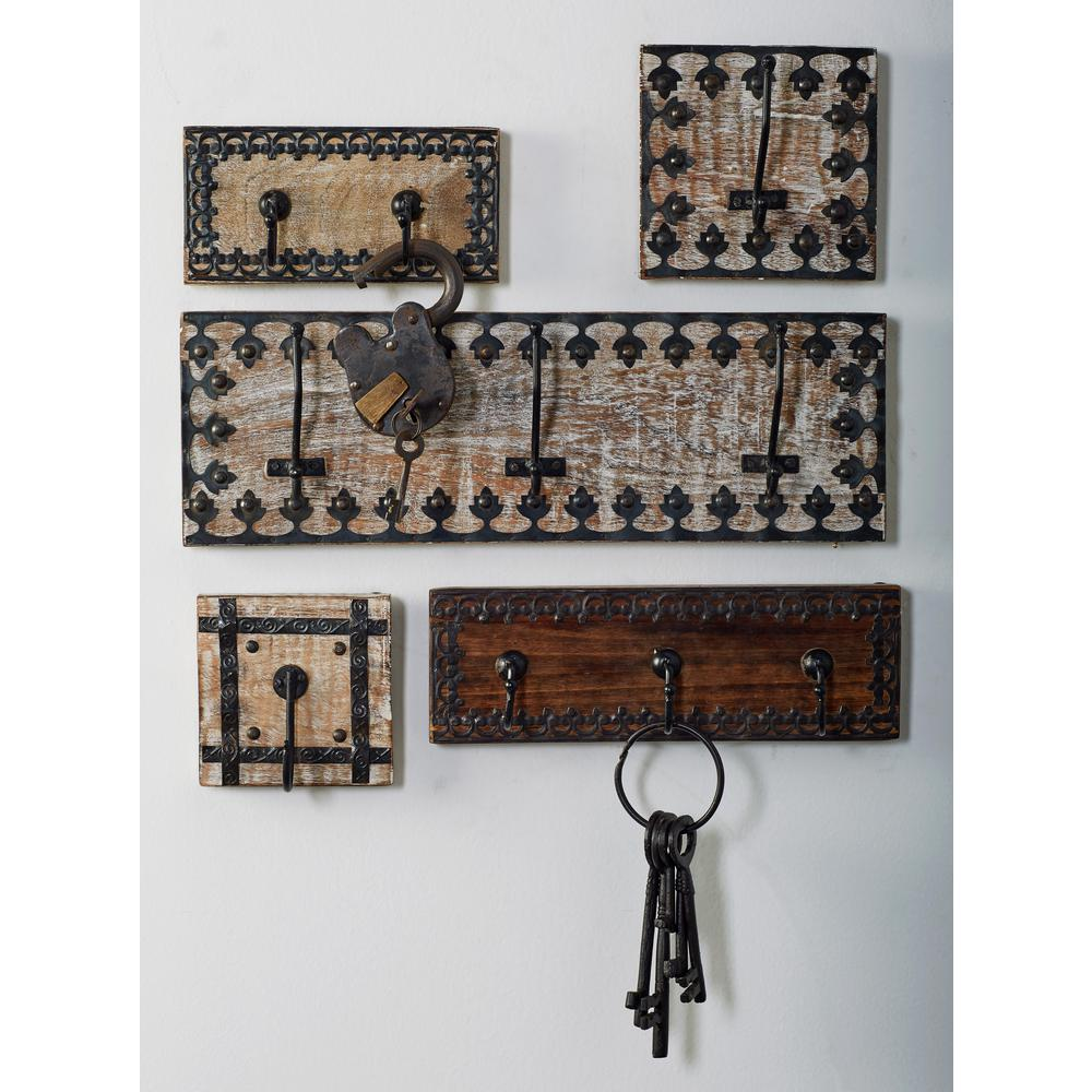 Brown Wood and Iron Wall Hook Racks with Black Lattice Frame