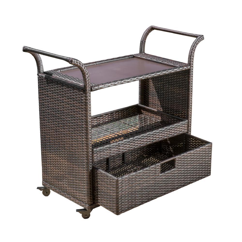 Vera Multibrown Wicker Bar Cart with Drawer