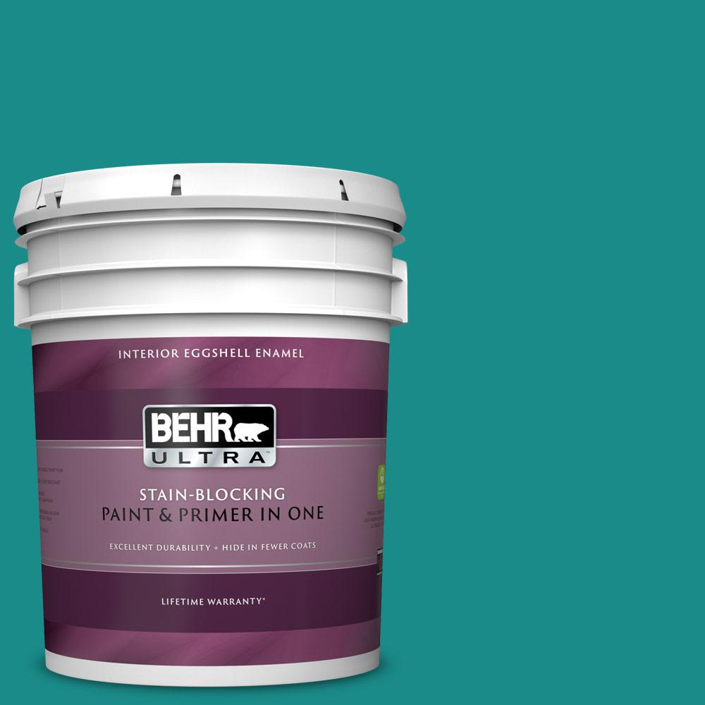 Behr Ultra 5 Gal Home Decorators Collection Hdc Fl13 12 Taos Turquoise Eggshell Enamel Interior Paint Primer 275305 The Home Depot
