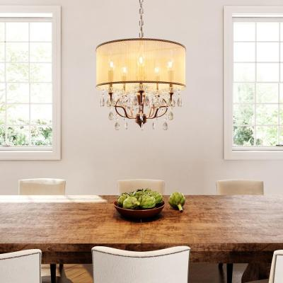 5-Light Antique Brass Rosie Crystal Ceiling Lamp