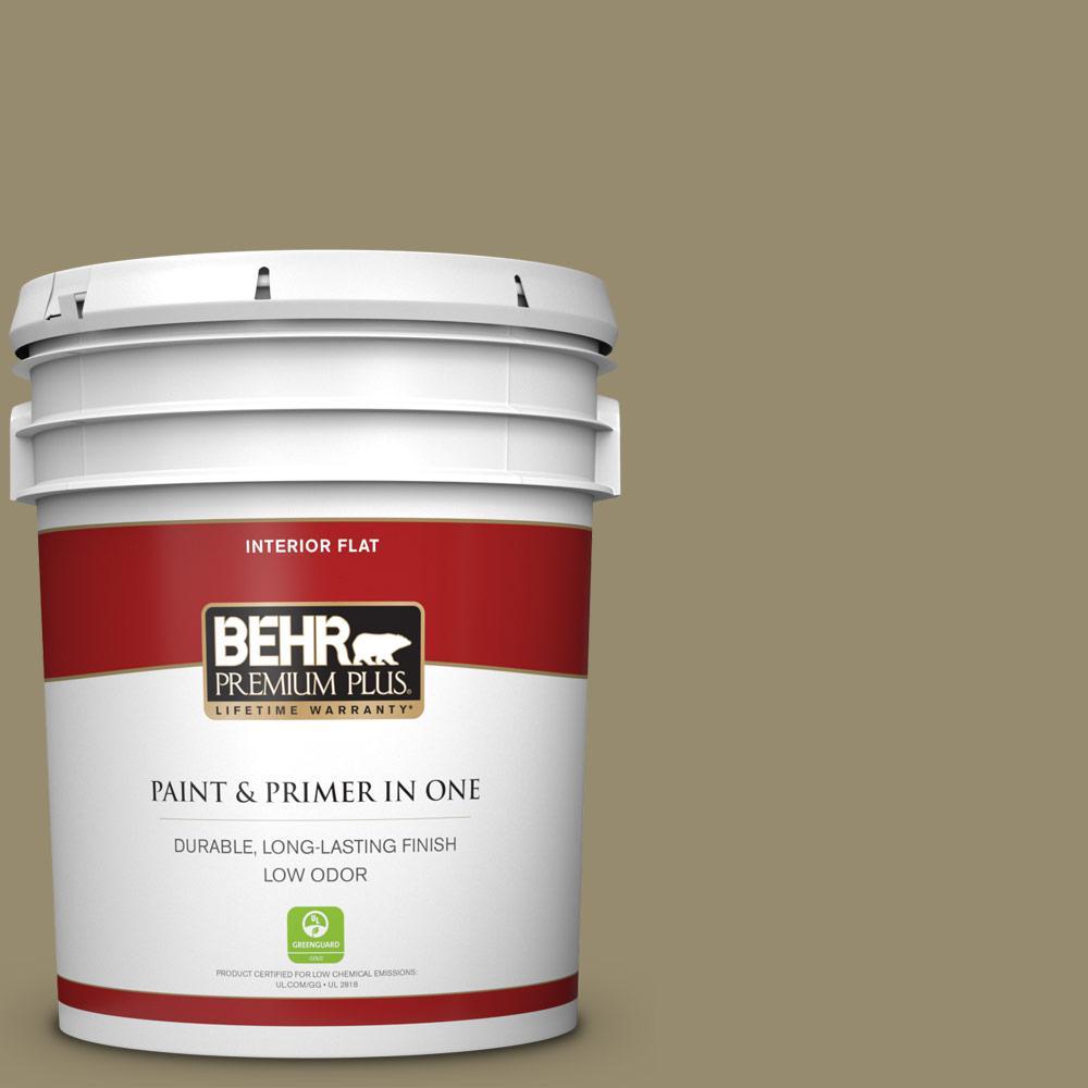 BEHR Premium Plus 5 gal  #PPU8-04 Urban Safari Flat Low Odor Interior Paint  and Primer in One