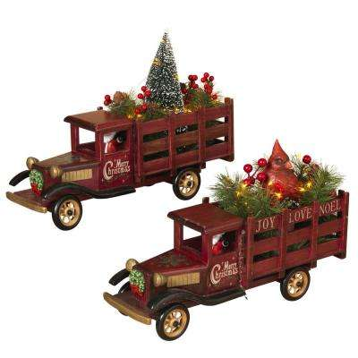 9.5 in. H Lit Wooden Antique Trucks Hauling Christmas Tree and Cardinal Figurine