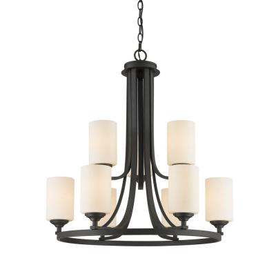 Barr 9-Light Bronze Chandelier with Matte Opal Glass