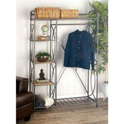 46 in. x 70 in. Metallic Gray Iron and Wood Clothes Rack
