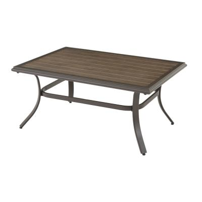Riverbrook Espresso Brown Rectangle Steel Slat Top Outdoor Patio Coffee Table