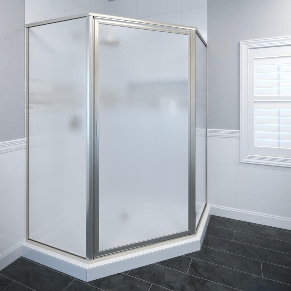 Basco Deluxe 22-5/8 in. x 68-5/8 in. Framed Neo-Angle Hinged Shower Door in Brushed Nickel