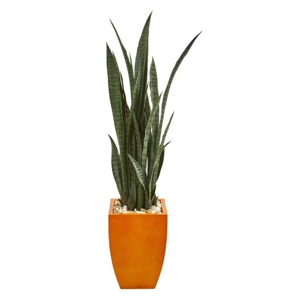 Nearly Natural Indoor 55 Sansevieria Artificial Plant in Orange Planter