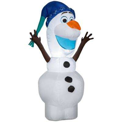 3.51 ft. Pre-lit Inflatable Olaf with Norwegian Hat Airblown