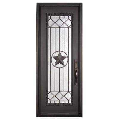 37.5 in. x 81.5 in. Texas Star Classic Full Lite Painted Oil Rubbed Bronze Wrought Iron Prehung Front Door