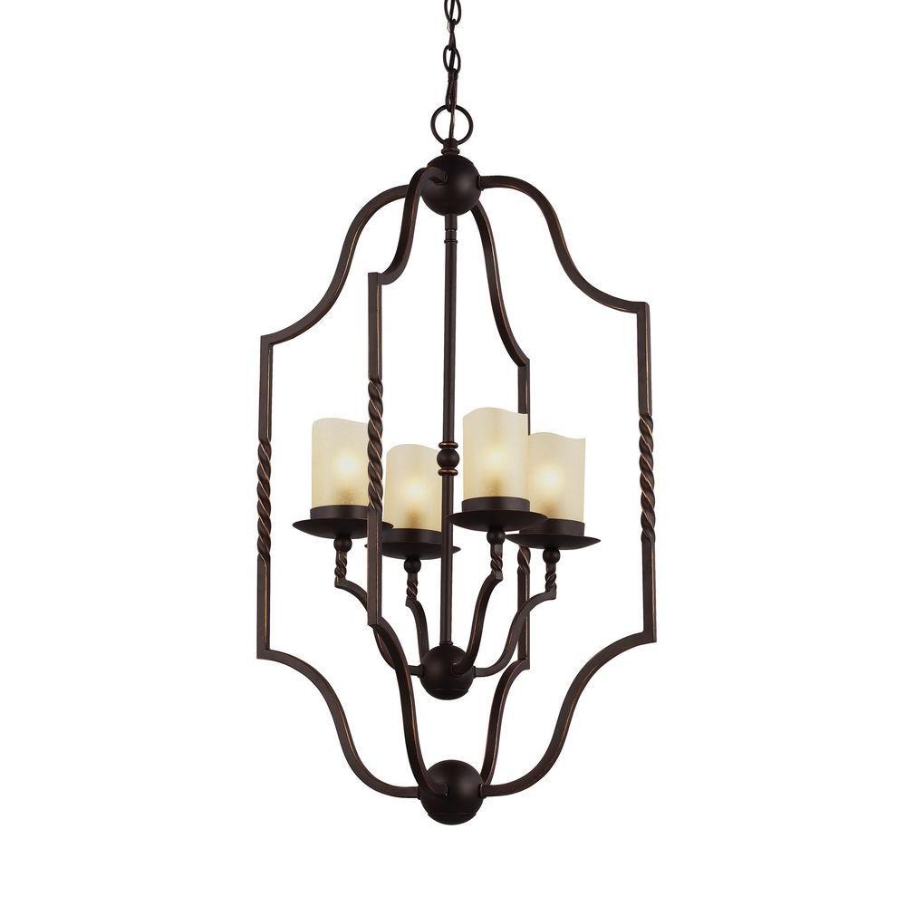 Trempealeau 4-Light Roman Bronze Indoor Pendant with Glass Shades