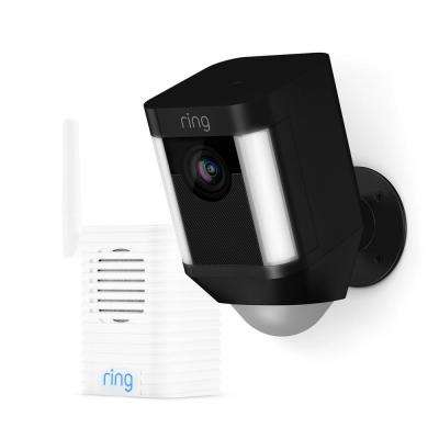 Spotlight Cam Battery Outdoor Security Wireless Standard Surveillance Camera in Black with Chime Pro