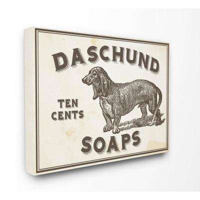 "16 in. x 20 in. ""Dachshund Soap Vintage Sign"" by Daphne Polselli Printed Canvas Wall Art"
