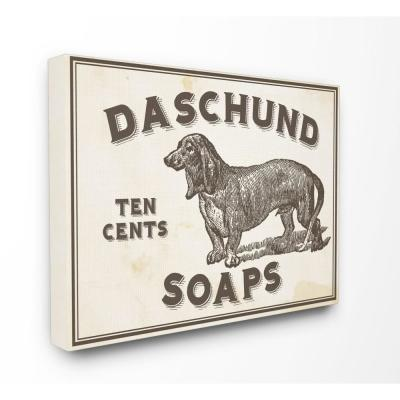 """16 in. x 20 in. """"Dachshund Soap Vintage Sign"""" by Daphne Polselli Printed Canvas Wall Art"""