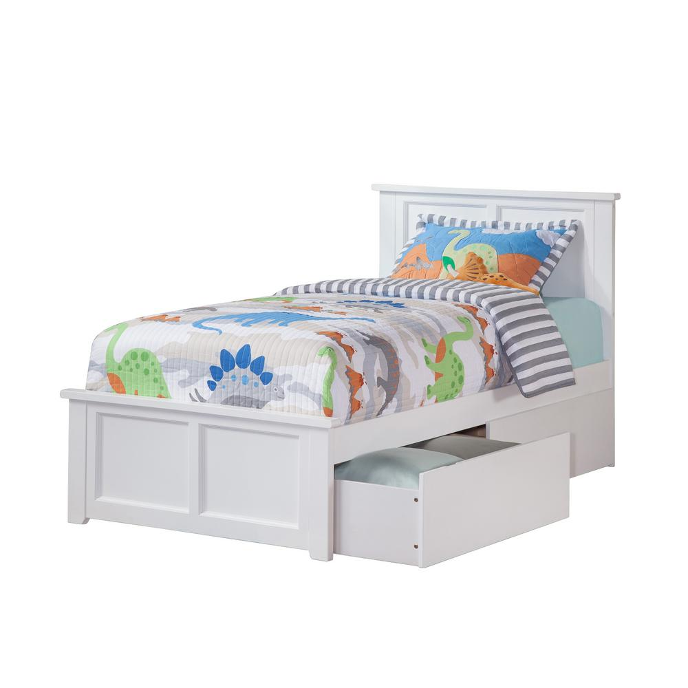 Madison White Twin Platform Bed with Matching Foot Board with 2-Urban
