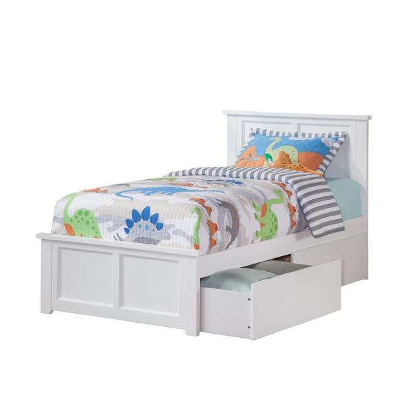 Atlantic Furniture Madison White Twin Platform Bed with Matching Foot Board with 2-Urban Bed Drawers