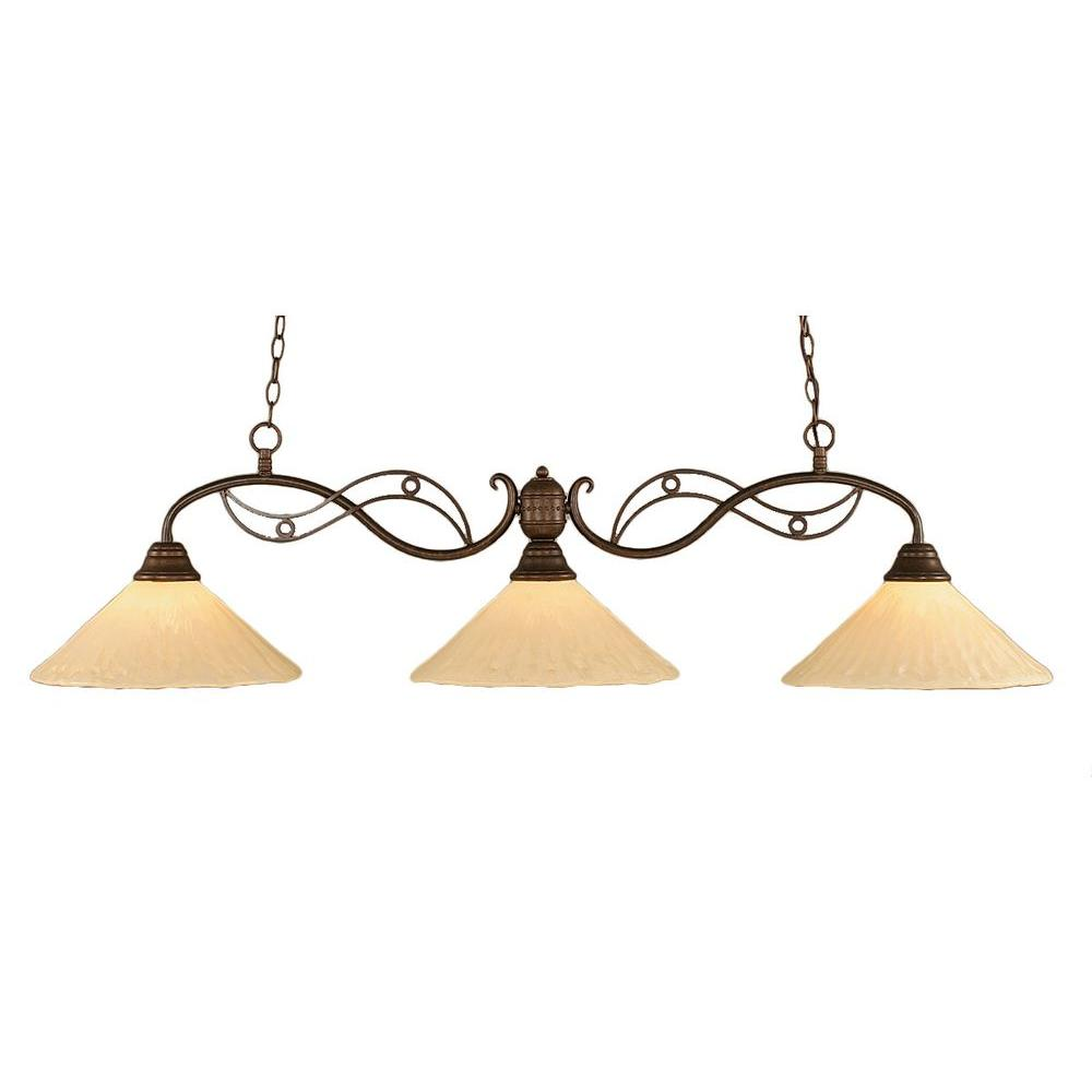 Filament Design 3 Light 16 in. Bronze Billiard Bar with Antique Ivory Glass-DISCONTINUED