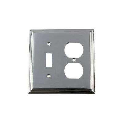 Deco Switch Plate with Toggle and Outlet in Bright Chrome