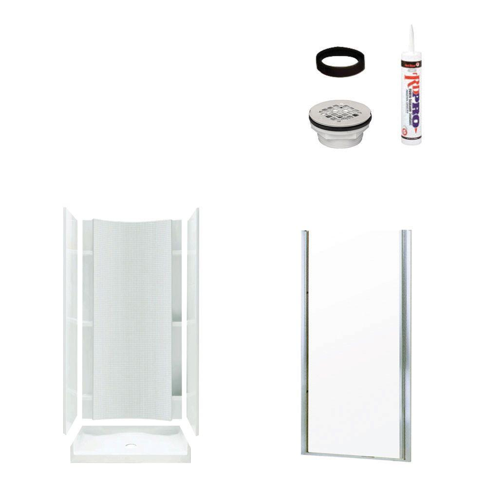 STERLING Accord 36 in. x 36 in. x 77 in. Shower Kit with Shower Door in White/Chrome-DISCONTINUED