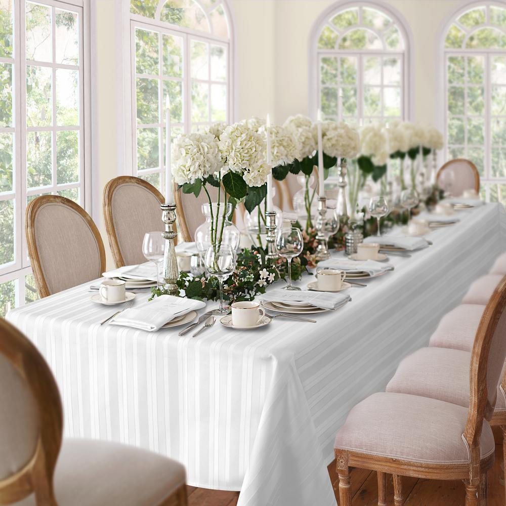 60 in. W x 84 in. L Oblong White Elrene Denley Stripe Damask Fabric Tablecloth