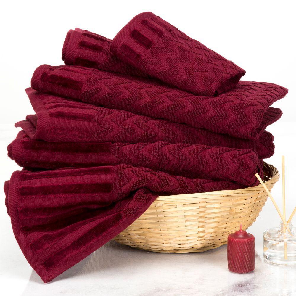 Lavish Home Chevron Egyptian Cotton Towel Set In Burgundy 6 Piece