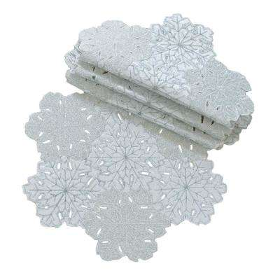 16 in. Shimmer Snowflake Embroidered Collection Round Cutwork Doily (4-Set)