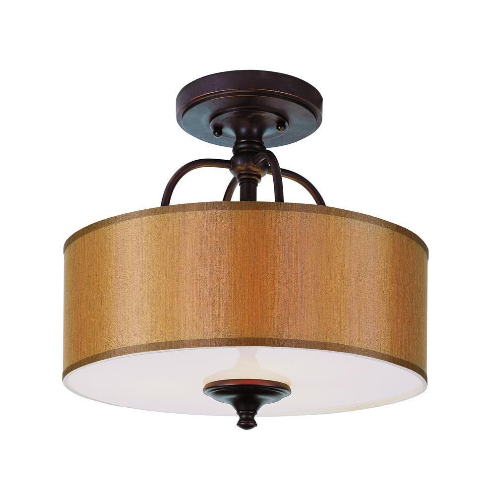 Stewart 3-Light Rubbed Oil Bronze Incandescent Ceiling Semi-Flush Mount Light