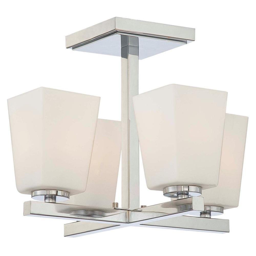 City Square 4-Light Chrome Semi-Flush Mount Light