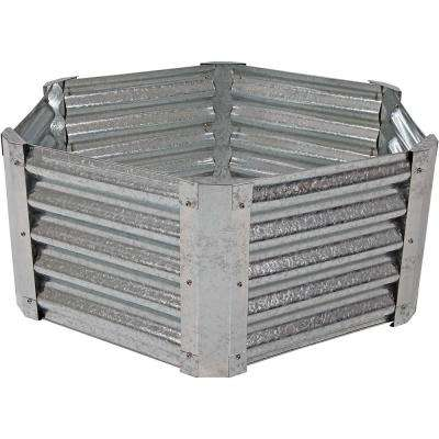 40 in. Hexagon Galvanized Steel Raised Garden Bed