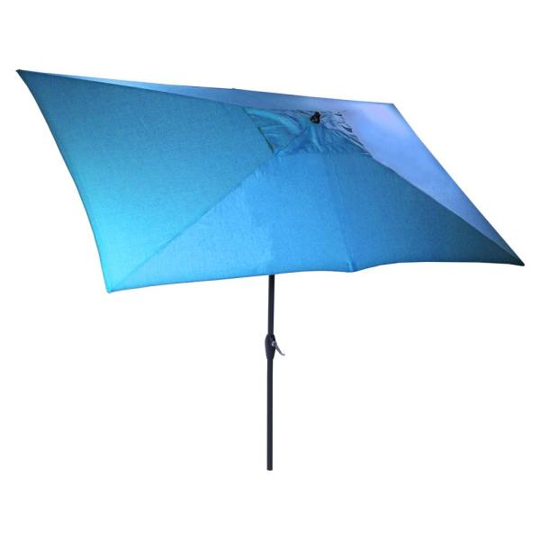 10 ft. x 6 ft. Aluminum Market Patio Umbrella in Seaglass with Push-Button Tilt