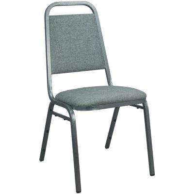 1 in. Charcoal Gray Fabric-padded Stackable Banquet Chairs (Set of 2)