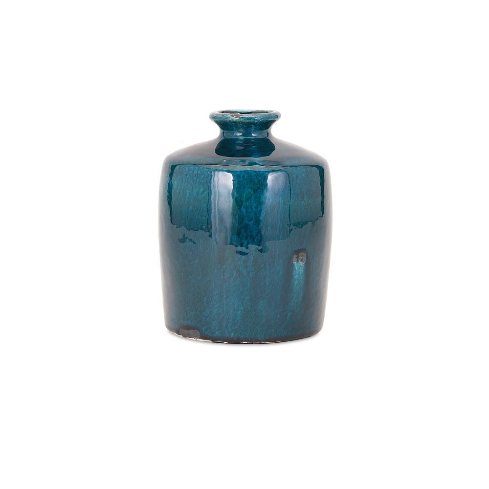 Small Blue Ceramic Decorative Vase