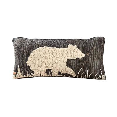 Moonlit Bear Ivory, Grey,Black, Rust, Gold Graphic Cotton 22 in. x 22 in. Throw Pillow