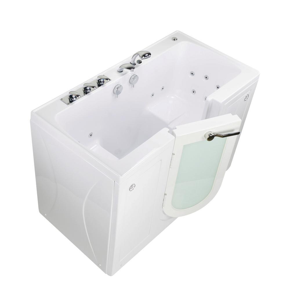Ella Tub4Two 60 in. Walk-In Whirlpool Bathtub in White, Left Outward ...
