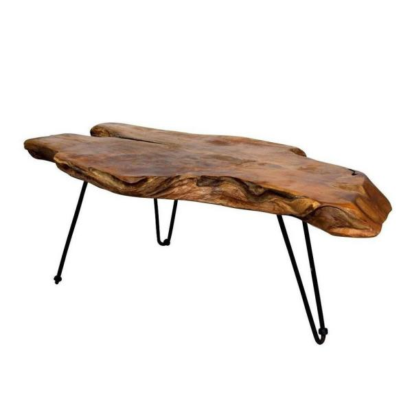 17 in. H Natural Wood Edge Teak Coffee Cocktail Table Clear Lacquer