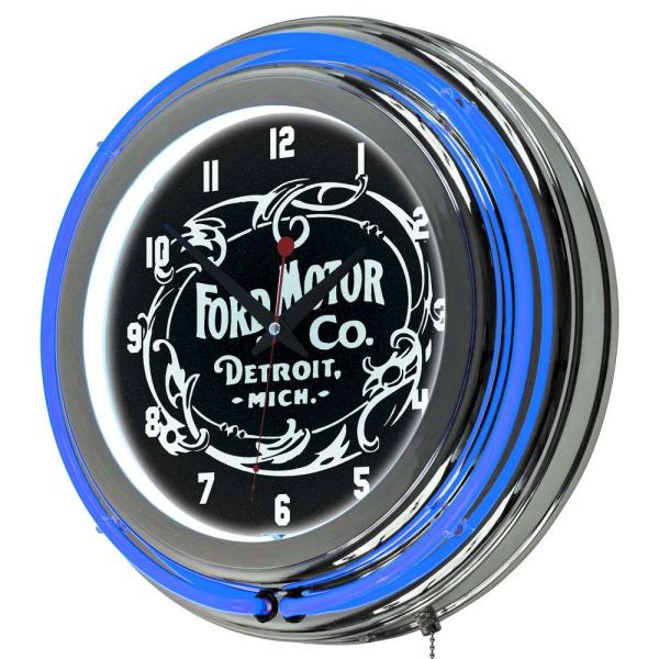 3 in. x 14 in. Vintage 1903 Motor Company Chrome Double Rung Neon Wall Clock