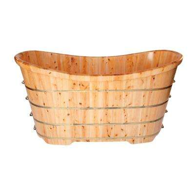 63 in. Wood Flatbottom Bathtub in Natural Wood