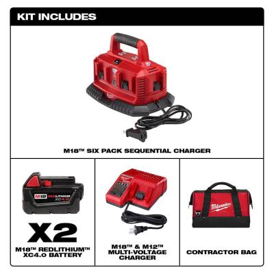 M18 18-Volt Lithium-Ion 6-Port Sequential Battery Charger with Two 4.0 Ah Batteries, Charger and Contractor Bag