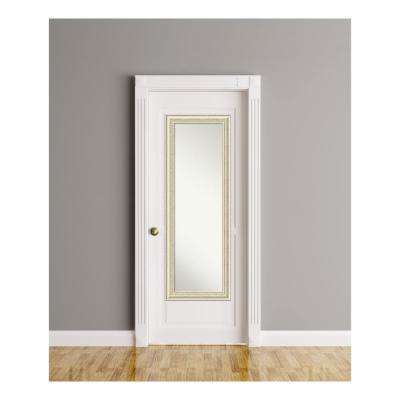 Country White Wash Wood 19 in. W x 53 in. H On The Door Mirror