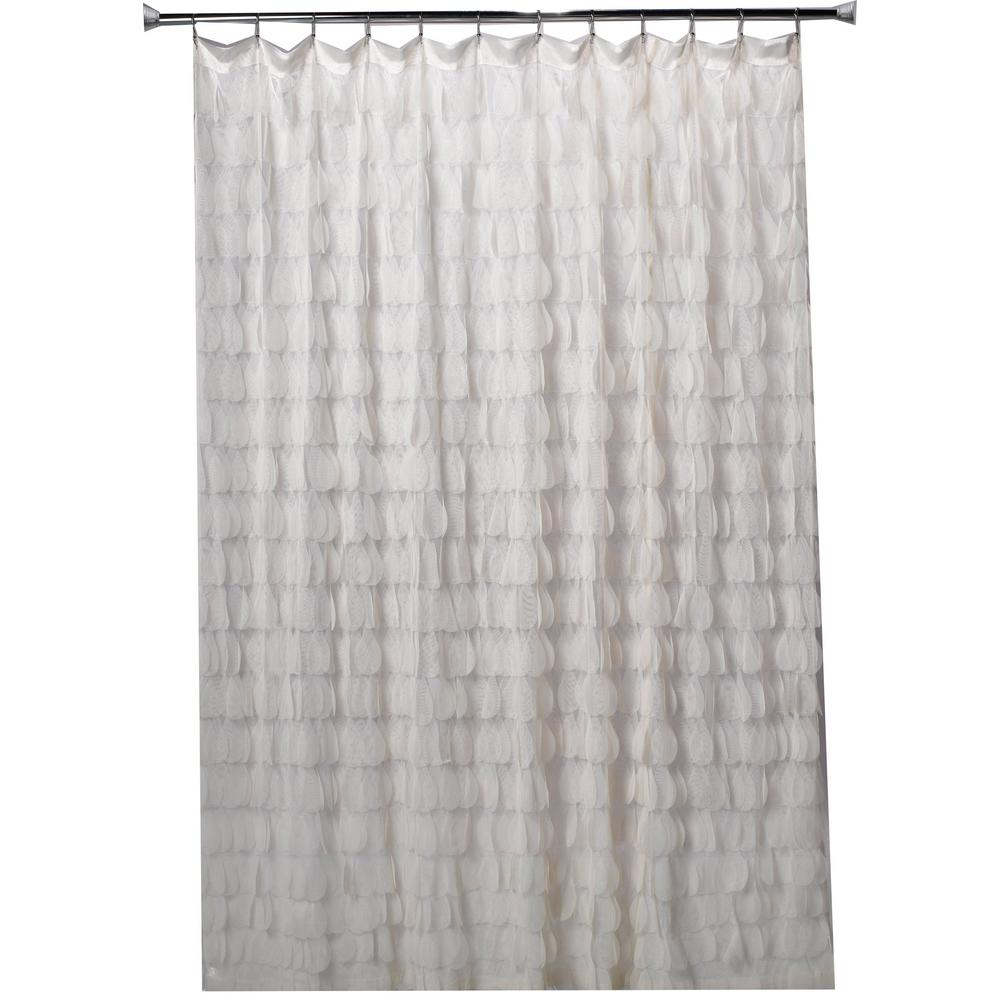 Chichi 76 in. Ivory Cascading Tulle Petal Shower Curtain