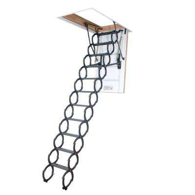 LST 9 ft. 2 in., 27.5 in. x 31.5 in. Insulated Steel Scissor Attic Ladder with 350 lbs. Maximum Load Capacity Not Rated