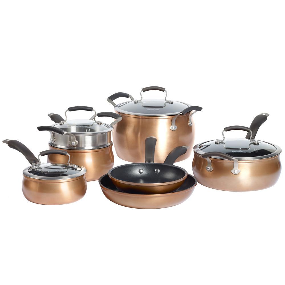 11-Piece Copper (Brown) Translucent Aluminum Cookware Set