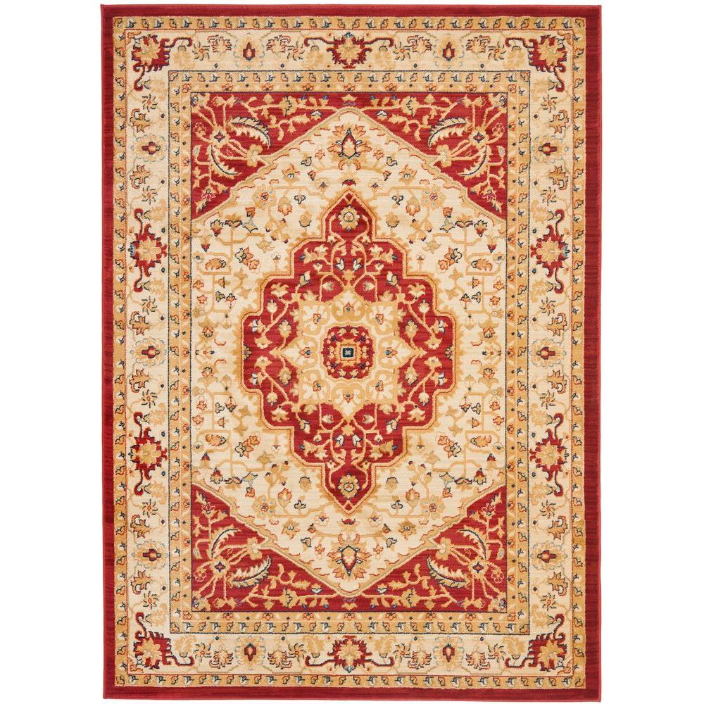 Austin Creme/Red 6 ft. 7 in. x 9 ft. 1 in.