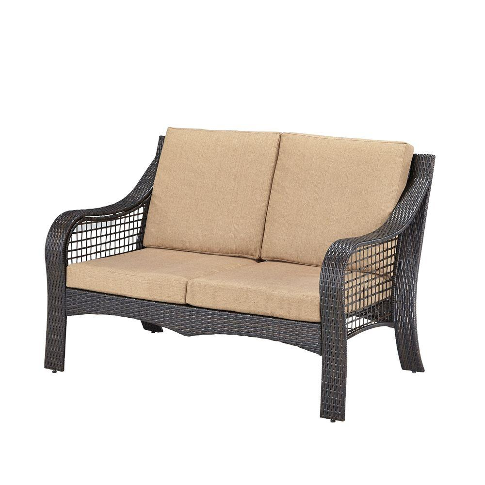 Home Styles Lanai Breeze Deep Brown Woven Patio Loveseat With Cushion