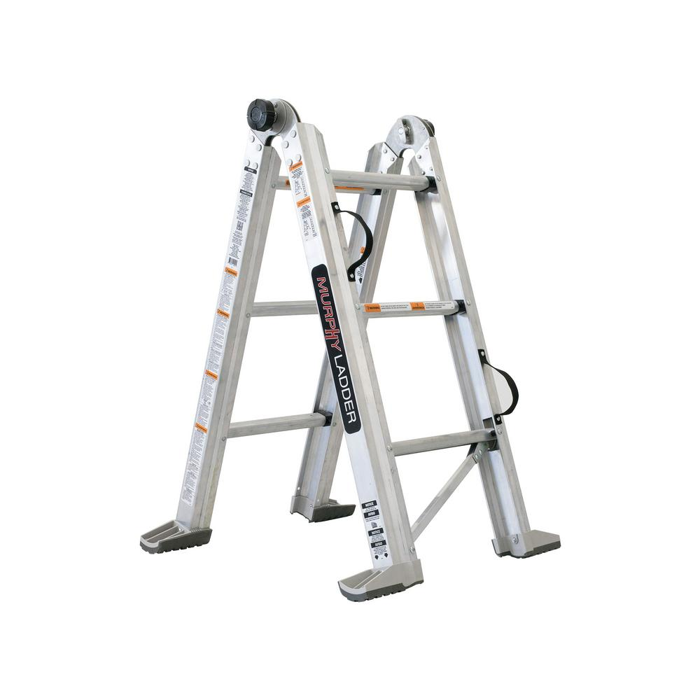 MURPHY LADDER 7 ft. Height 10 ft. Reach Aluminum Fully Compactable Multi-Position Ladder 375 lbs. Load Capacity Type IAA Duty Rating