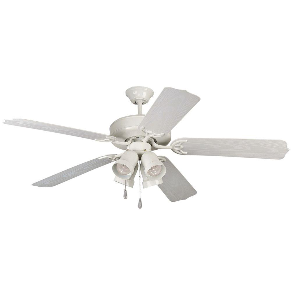 Yosemite Home Decor Sharon 52 in. Outdoor White Frame Ceiling Fan with Light Kit and Blades-DISCONTINUED