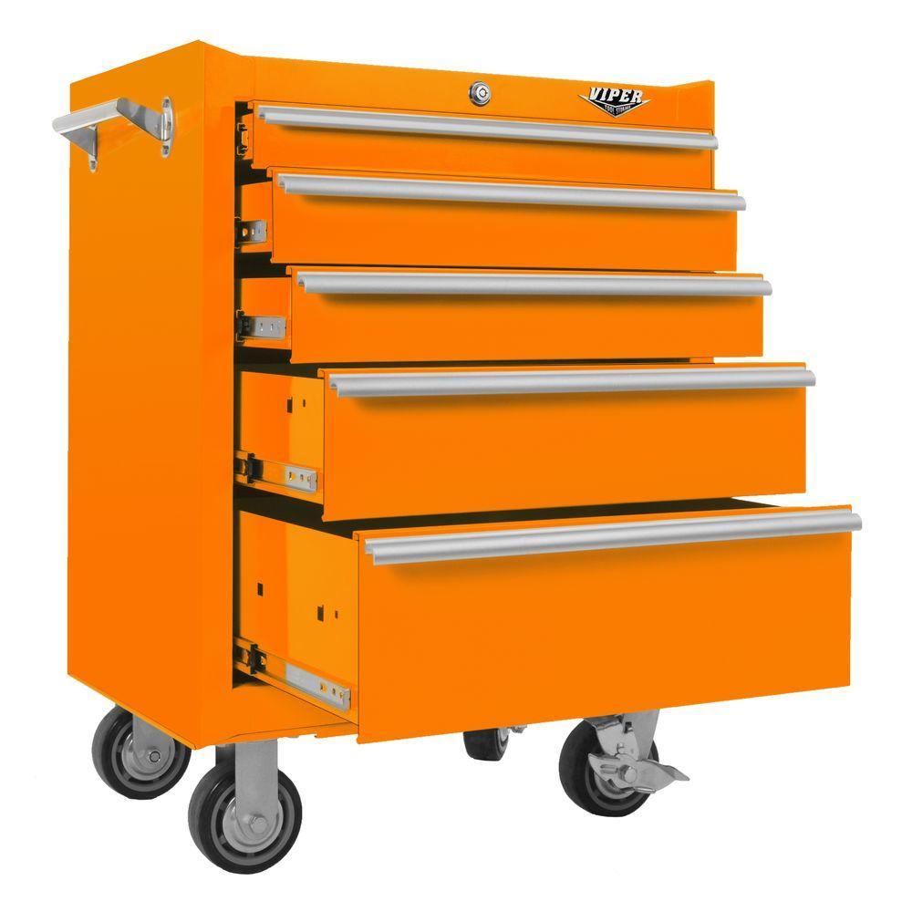 Viper Tool Storage 26 in. 5-Drawer Cabinet in Orange